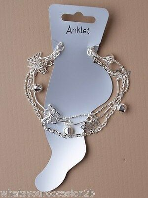 New Silver Triple Row Butterfly Charm & Bell Anklet Ankle Bracelet
