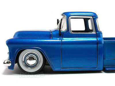 "1955 Chevy Stepside Pickup ""RETRO"" 1:24 Scale Diecast Model (BLUE)"