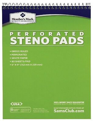 Members Mark Perforated Steno Pad Notebook White 12 pack 6 x 9 - 80 Sheets Pad