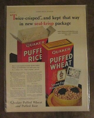 """Quaker Puffed Rice & Puffed Wheat 1932 Ad Approx 10 1/2"""" x 14"""" Magazine page"""
