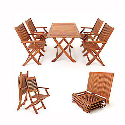Outdoor  5 Piece Teak Wooden Garden Patio Dining Set Folding Table and Chairs UK