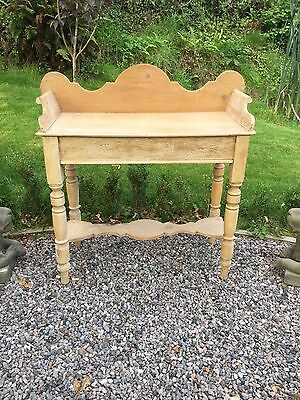 Antique Victorian Stripped And Waxed Pine Washstand