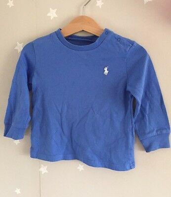 Ralph Lauren Baby Boy Top With White Polo Logo Blue 12M 100% Cotton