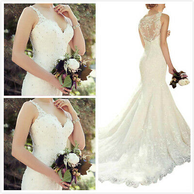 Mermaid lace NEW White/Ivory Wedding Dress Bridal Gown Stock Size 6 8 10 12++