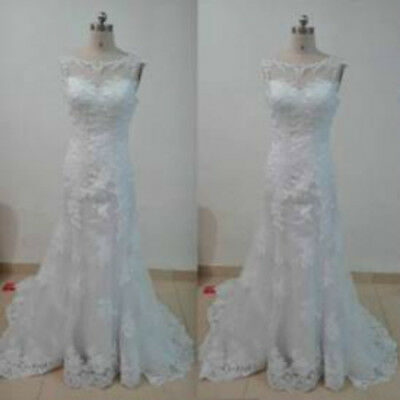 2017 NEW  Mermaid lace White/ivory Wedding dress Bridal Gown 6 8 10 12 14 16 18+