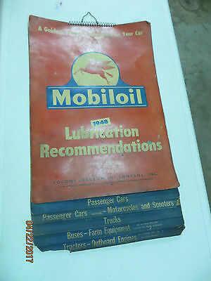 """1948 16"""" x 27"""" Mobil Oil Lubrication Chart Paper Sign"""