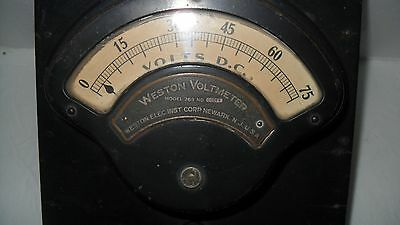 Antique Vintage Weston Elec.Inst.Corp Voltmeter 0-75 D.C. Model 269 in wood box