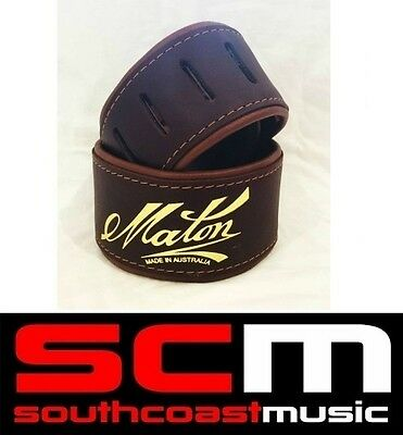 Maton Deluxe Leather Guitar Strap 2.5 inch Padded and Brown Suede Brand New