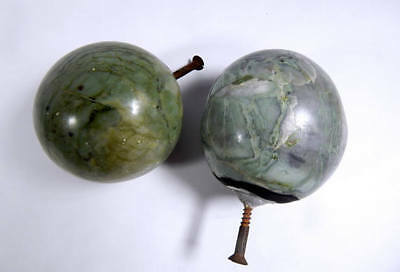 Pair of Large Antique French Finials for Stair Newel Post in Green Onyx