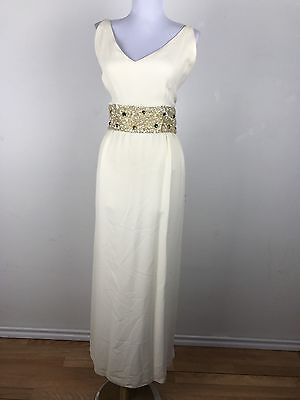 Vintage 1960s Dress Emma Domb Cream Gold Jeweled Sequin Maxi Cocktail Party M