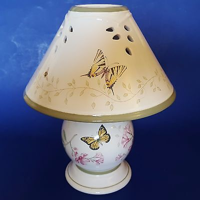 Lenox 'Butterfly Meadow' Porcelain Tea Light Lamp with Shade. Pink Flowers. Bees