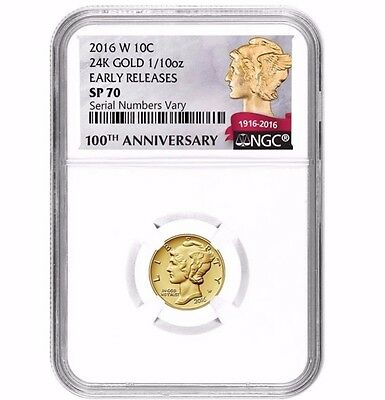 2016-W 1/10 Oz Gold Mercury Dime NGC SP70 EARLY RELEASE