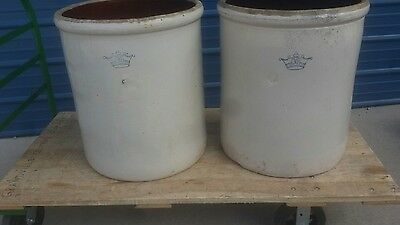 TWO BLUE CROWN 30 gallon Stone crocks Grand Rapids Michigan pick up only see pic