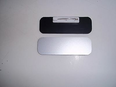 50 Silver/Black, Blank Name Badge Tag 1x3 With Pin Back Round Corners Wholesale