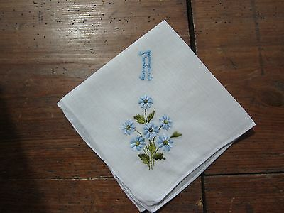 """Vintage White Handkerchief with """"A"""" Monogram in Blue . Blue Floral Embroidery"""
