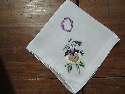 """Vintage White Handkerchief with """"O"""" Monogram in Purple .  Floral Embroidery"""