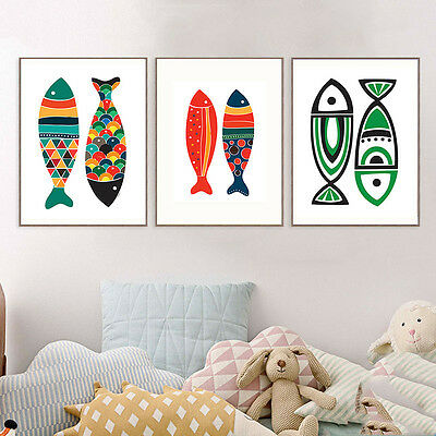 Fish Abstract Canvas Poster Cartoon Wall Art Prints Modern Home Decor