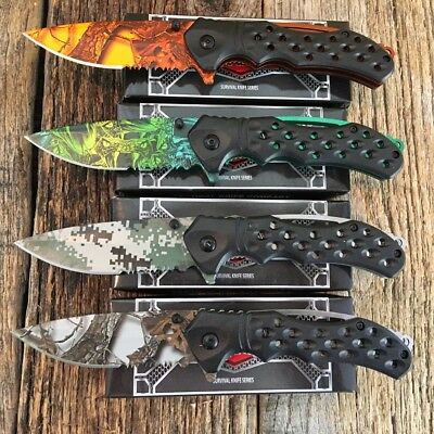 "4 PC Set RAZOR TACTICAL Assorted 8"" Spring Assisted Open Rescue Pocket Knife -SU"