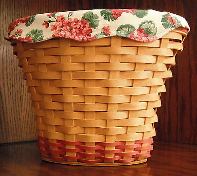 Longaberger Basket Vase with Fabric and Plastic Liners