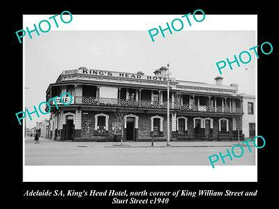 OLD LARGE HISTORICAL PHOTO OF ADELAIDE SA, KINGS HEAD HOTEL, STURT St 1940