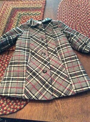 Janie And Jack Baby Girls Plaid Lined Coat 6-12 Months