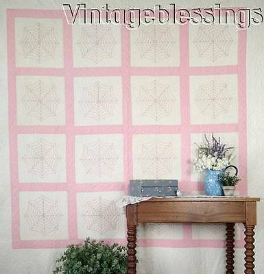 """Never Used VINTAGE 30s Pink White Unusual Embroidered RARE Spider Webs QUILT 84"""""""