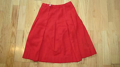 Vintage Sears Girls Fashion Skirt Red Size 10 Union Stamp Pleated Falcon Zip