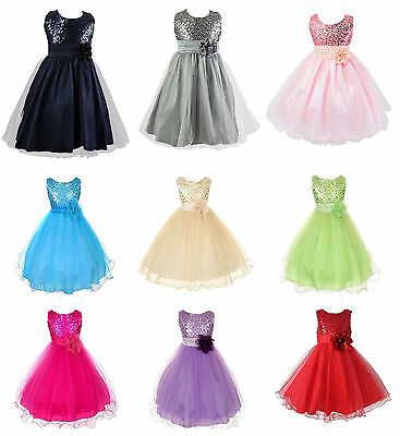 Girls Sequinned Dress Flower Princess Wedding Formal Party Pageant Bridesmaid UK
