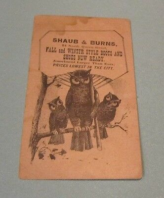 Shaub & Burns Boots and Shoes Victorian Trade Card Owls in Tree Lancaster PA