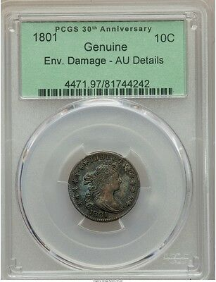 1801 Draped Bust Dime 10C Jr-1 R.4 Pcgs Au Details, Super Rare Graded This High!