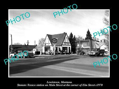 OLD LARGE HISTORIC PHOTO OF LEWISTOWN MONTANA, THE TEXACO GAS STATION c1970