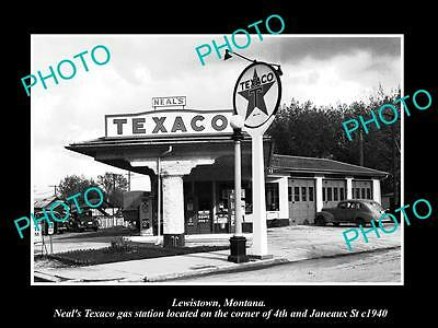 OLD LARGE HISTORIC PHOTO OF LEWISTOWN MONTANA, THE TEXACO GAS STATION c1940