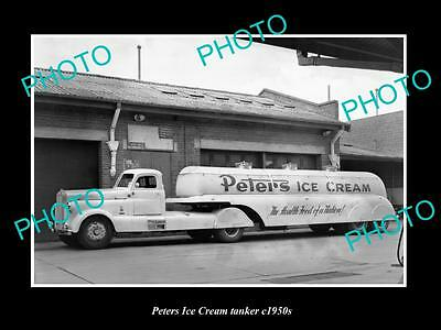 Old Large Historic Photo Of Melbourne Victoria, The Peters Ice Cream Tanker 1950