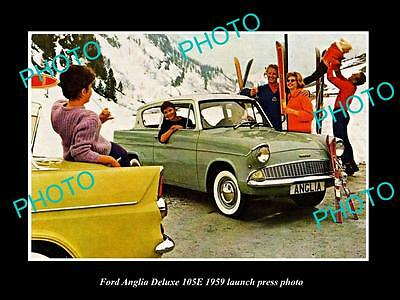 Old Large Historic Photo Of 1959 Ford Anglia Deluxe 105E Launch Press Photo 2