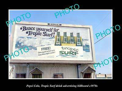 OLD LARGE HISTORIC PHOTO OF PEPSI TROPIC SURF ADVERTISING BILLBOARD c1970s 1