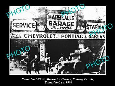 OLD LARGE HISTORIC PHOTO OF SUTHERLAND NSW, MARSHALLS SERIVE STATION c1930s