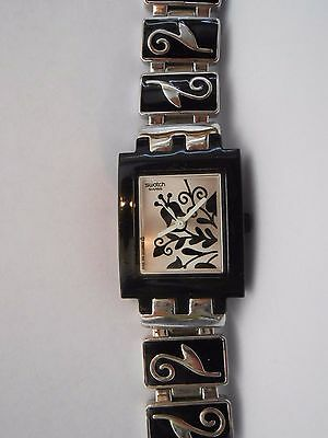 "Swatch Watch Black Silver Square Evening Only Subb111G Originals 2005 6.5"" Long"