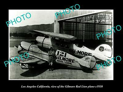 OLD HISTORIC PHOTO OF LOS ANGELES CALIFORNIA, GILMORE OIL RED LION PLANE c1930 2