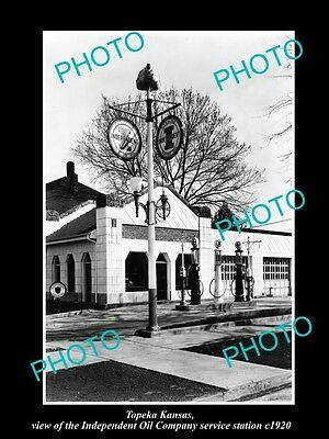 OLD LARGE HISTORIC PHOTO OF TOPEKA KANSAS, THE INDEPENDENT OIL GAS STATION c1920