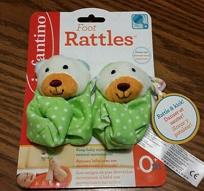 NEW Infantino Teddy Bear & Puppy Foot Rattles Green Ages: 0+ Mo Baby Girl/Boy