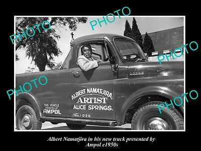 OLD LARGE HISTORIC PHOTO OF ALBERT NAMATJIRA WITH HIS AMPOL OIL Co TRUCK 1950s