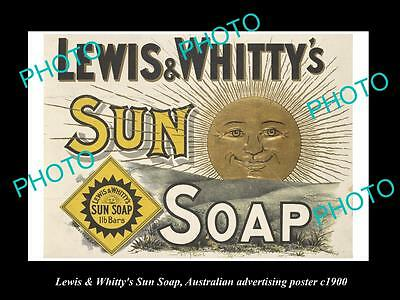 OLD HISTORIC AUSTRALIAN ADVERTISING POSTER, LEWIS & WHITTYS SUN SOAP c1900