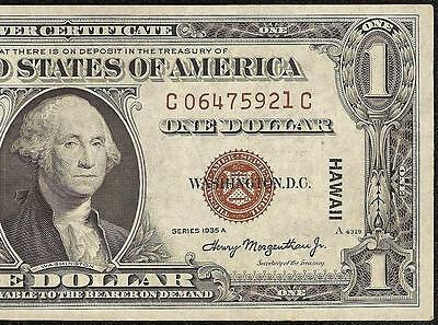 1935A $1 Dollar Bill Wwii Hawaii Silver Certificate Brown Seal Note Currency Xf