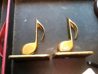 VINTAGE PAIR Of Heavy Brass Musical Bookends Eighth Notes Profile Looks Sharp 2!