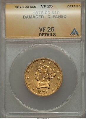 1878-Cc $10 Gold Eagle Anacs Vf25 Details, Only 60 - 75 Exist!