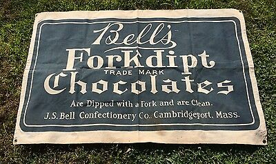 Early 1900's BELL'S FORKDIPT CHOCOLATE Canvas Banner Sign Old General Store