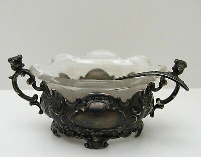 Victorian Sterling Silver 935 24.4g Ground Cut Glass Insert Open Salt and Spoon