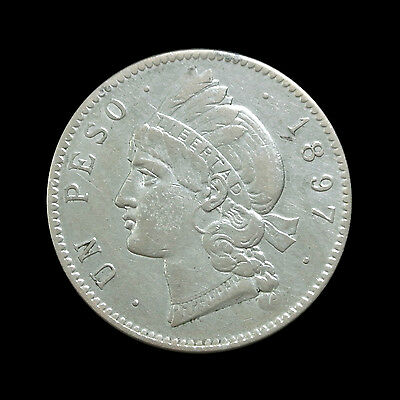 1897 Dominican Republic Silver Peso - Better Grade