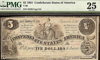 1861 $5 Dollar Bill Confederate States Civil War Currency Paper Money T-36 Pmg