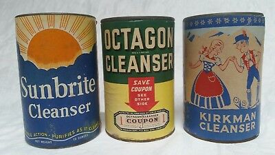 3 Vintage Cleansers Full Containers Color Label Advertising